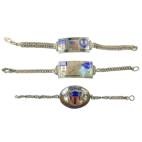 Original U.S. WWII China Burma India Silver Enamel Bracelet Collection Original Items