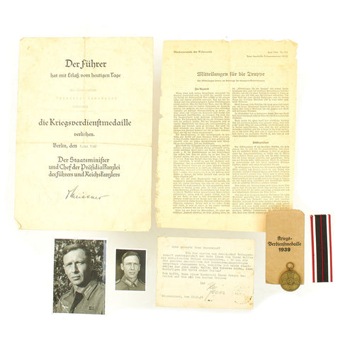 Original German WWII Named 1939 War Merit Medal & Award Document grouping with Pictures Original Items