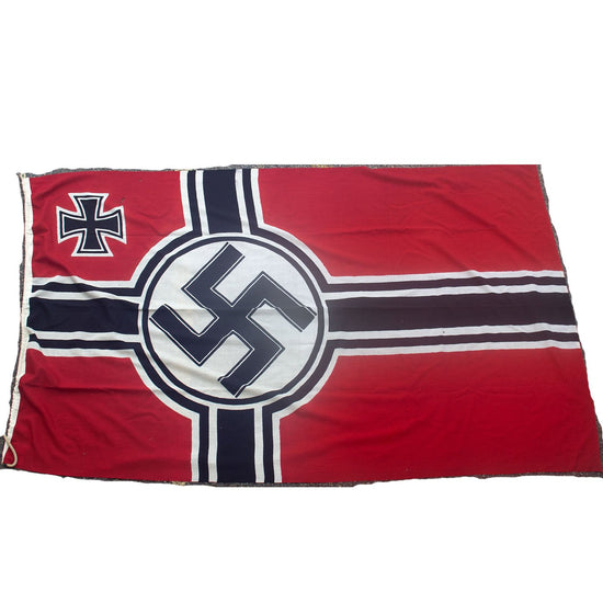 Original German WWII Kriegsmarine 150cm x 250cm Naval Battle Flag by Plutzar & Brüll KG. - Reichkriegsflagge Original Items
