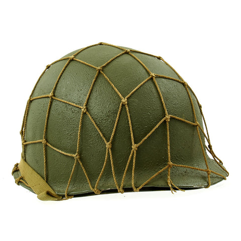 Original U.S. WWII M1 McCord Fixed Bale Front Seam Helmet with Net and MSA Liner Original Items