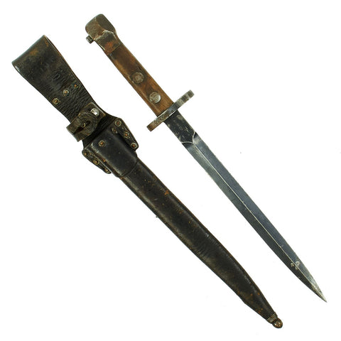 Original Dutch WWI M1895 Mannlicher Carbine No.1 New Model Dagger Bayonet with Scabbard Original Items