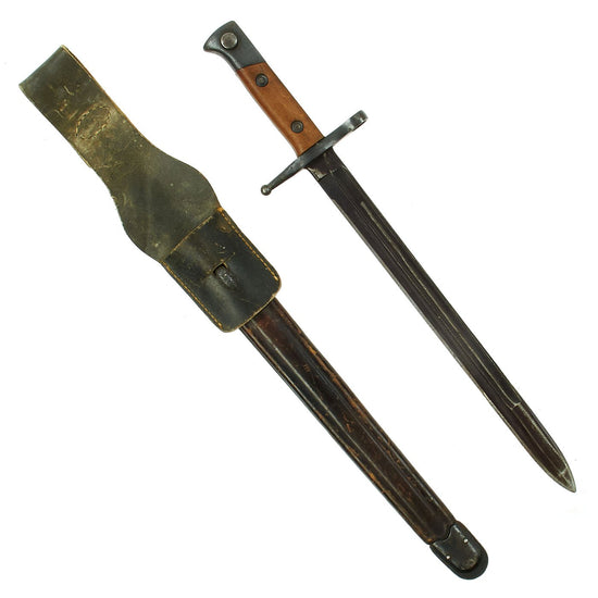 Original WWII Italian M1891 Carcano - Mannlicher Rifle Bayonet with Leather Scabbard and Frog