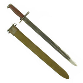 "Original U.S. WWI & WWII M1905 Springfield 16"" Rifle Bayonet marked S.A. with WWII M3 Scabbard - dated 1910"