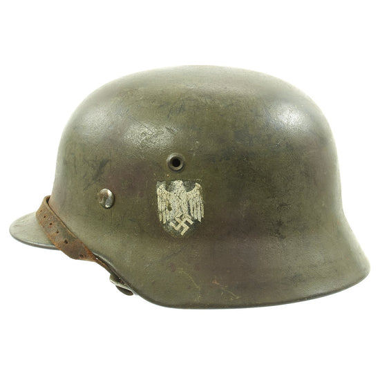 Original German WWII Army Heer M40 Single Decal Steel Helmet with Camouflage Paint and Size 56 Liner - ET64 Original Items