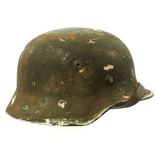 Original German WWII Army Heer M40 Steel Helmet with Textured Camouflage Paint and Size 57 Liner - Q64