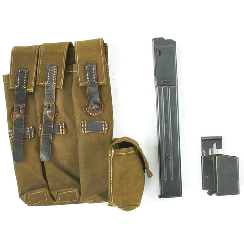 Original German WWII MP 38 u.40 Magazine Pouch Dated 1943 with Magazine and Loader