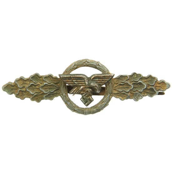 Original German WWII Luftwaffe Bronze Grade Front Flying Clasp for Transport and Glider Pilots Original Items