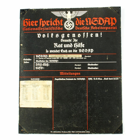 Original German WWII Sign der NSDAP Public Announcement Board - Emailleschild Original Items