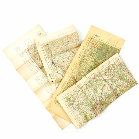 Original U.S. & British WWII Allied Color Maps of Italy, Germany, Poland, Scottland, & Surroundings - Set of 4 Original Items