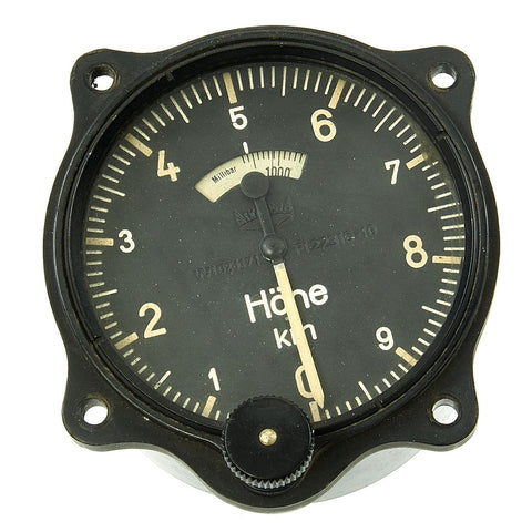 Original German WWII Luftwaffe Junkers Ju 52 Aircraft 0-10km Altimeter Lh19r. by Askania - Fl. 22316 - 10 Original Items