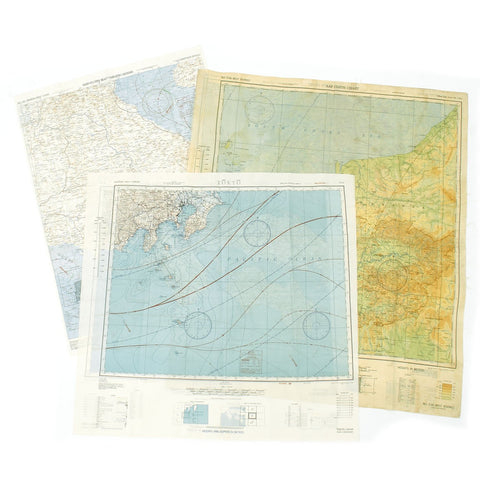 Original U.S. WWII Set of 3 USAAF Double Sided Escape Maps of the South Pacific - dated 1943 & 1944 Original Items