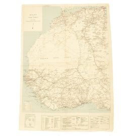 "Original U.S. WWII 1942 Dated 25 1/2"" x 36"" Escape Road Map of West Africa - Operation Torch"