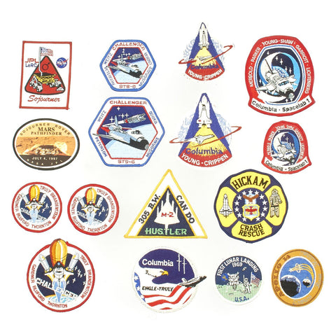 Original U.S. NASA Space Shuttle Columbia, Challenger, Apollo and Spacelab Mission Patches - Set of 16 Original Items
