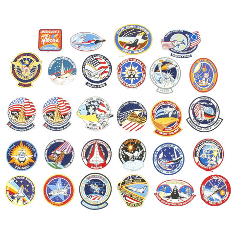 Original U.S. NASA Space Shuttle Challenger Disaster and Columbia Mission Patches - Set of 28 Original Items