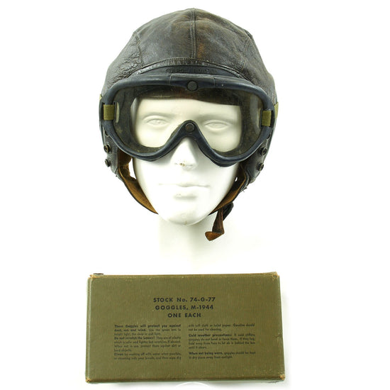 Original U.S. WWII Army Air Forces Aviator A-11 Flight Helmet with K-14 Earphones and M-1944 Goggles in Case Original Items