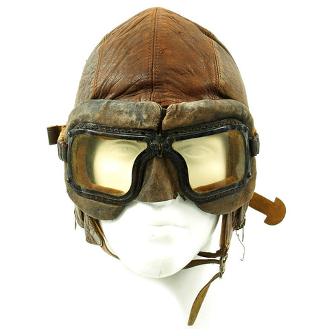 Original WWII Royal Canadian Air Force RCAF Leather Flying Helmet with 1942 dated MkIII Goggles Original Items