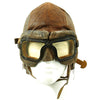 show larger image of product view 1 : Original WWII Royal Canadian Air Force RCAF Leather Flying Helmet with 1942 dated MkIII Goggles Original Items