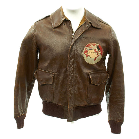 Original U.S. WWII Army Air Force 386th Bomb Squadron A-2 Flight Jacket Original Items