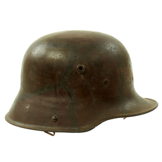 Original Imperial German WWI M16 Stahlhelm Helmet with Panel Camouflage Paint and Partial Liner - marked Si.66 Original Items