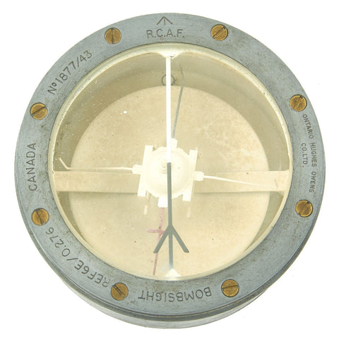 Original British WWII Royal Canadian Air Force RCAF Compass for Course Setting Bomb Sight - dated 1943 Original Items