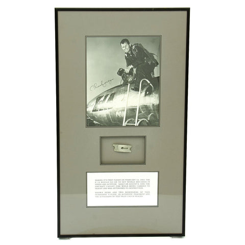 Original U.S. Crash Artifact from Bell X-1A Aircraft with Signed Photo of Chuck Yeager Exiting Cockpit Original Items