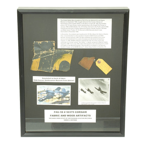 Original U.S. WWII Artifacts from Vought F4U Corsair Aircraft flown by VF-10 Squadron during Training Original Items