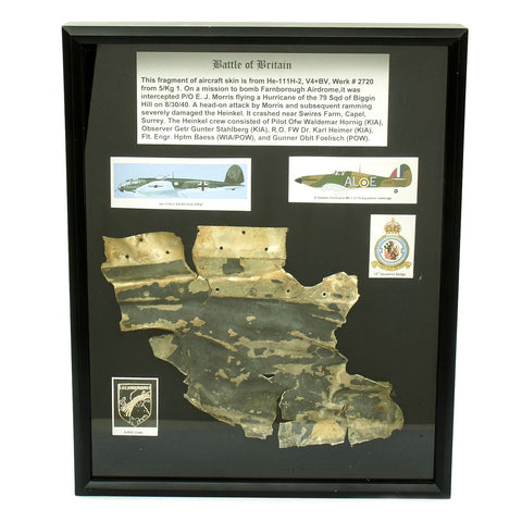 Original German WWII Luftwaffe Fuselage Piece from R.A.F. Downed He 111 - Battle of Britain Original Items