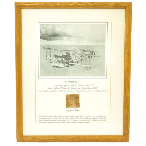 Original U.S. Framed Fabric Piece from the Curtiss NC-4 - First Trans-Atlantic Flight on May 27 1919 Original Items