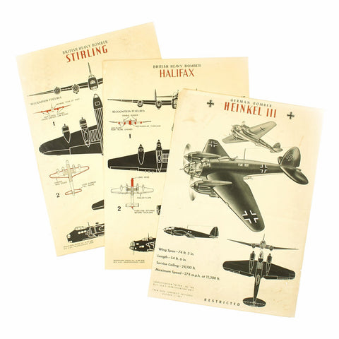 Original U.S. WWII Set of 3 USAAF Aircraft Identification Posters: German Heinkel 111 + British Stirling & Halifax Original Items