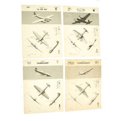 Original U.S. WWII Naval Aviation Training WEFTUP ID Posters - Set of Four - German, Japananse, U.S. and British Aircraft Original Items