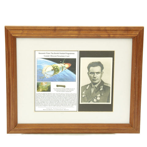 Original Soviet Russian Space Program Vostok 2 Parachute Cord Piece with Signed Gherman Titov Photo Original Items