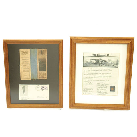 Original U.S. Framed Early Aviation Set - Fragments from Explorer II Balloon & U.S.S. Shenandoah Dirigible Original Items