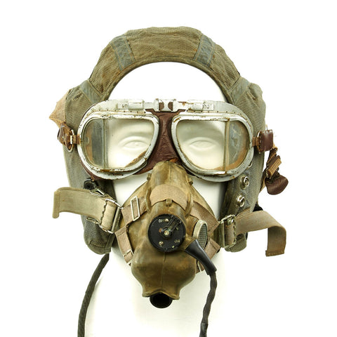 Original British Royal Air Force 22C Flying Helmet with Mk VIII Goggles and Oxygen Mask Original Items