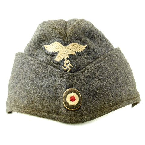 Original German WWII Luftwaffe EM-NCO 56cm M38 Overseas Wool Cap Dated 1942 - Schiffchen Original Items