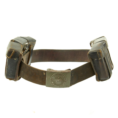 Original German WWII Army Heer Belt with Steel Buckle and Two 98k Triple Pouches - dated 1942 & 1943 Original Items