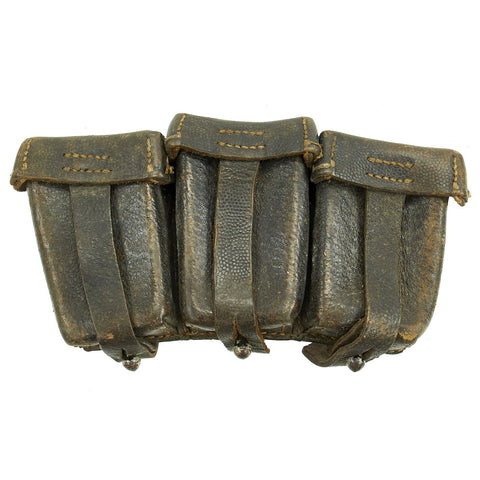 Original German WWII Naval Black Leather Mauser 98k Triple Pouch with Kriegsmarine Marking - dated 1942 Original Items