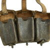 show larger image of product view 7 : Original German WWII Naval Black Leather Mauser 98k Triple Pouch with Kriegsmarine Marking - dated 1942 Original Items