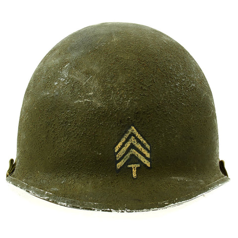 Original U.S. WWII 4th Armored Division 3rd Army Technician 4th Grade M1 Schlueter Front Seam Helmet Original Items