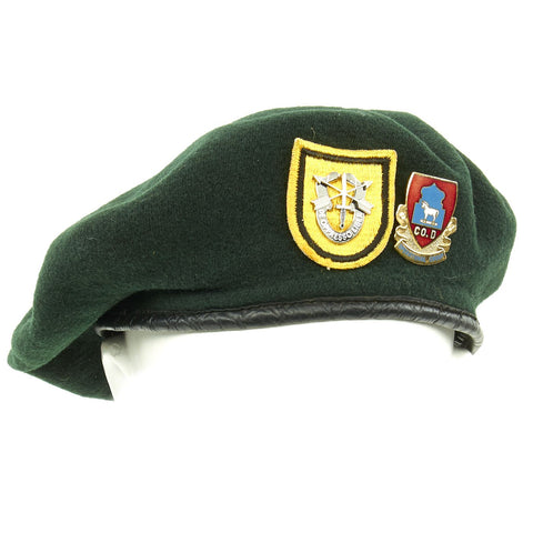 Original U.S. Cold War Era 1st Special Forces Group Green Beret with Unit Badges - dated 1952 Original Items