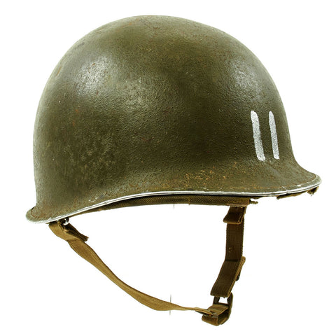 Original U.S. WWII 1942 M1 McCord Fixed Bale Front Seam Helmet with Rare Hawley Paper Liner Original Items