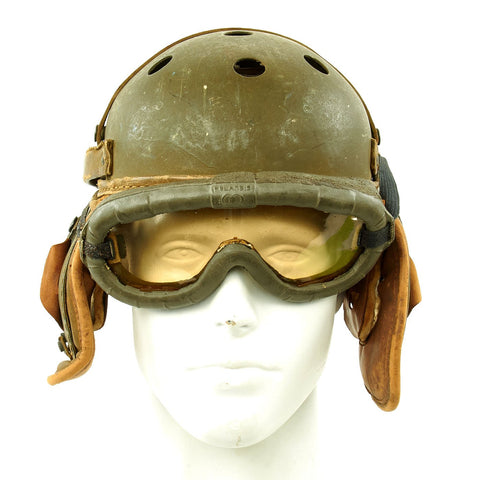 Original U.S. WWII M38 Tanker Helmet by Rawlings with Period  Polaroid Goggles - Size 7 1/8 Original Items