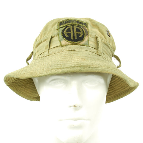 Original U.S. Vietnam War Locally Made Boonie Tropical Hat with 82nd Airborne Insignia Original Items
