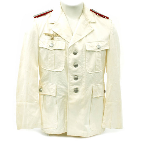 Original German WWII Artillery Officer Lieutenant White Summer Uniform Tunic Jacket Original Items
