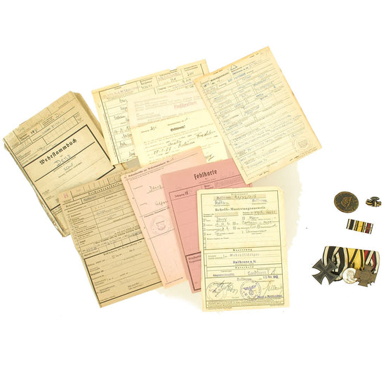 Original German WWI - WWII Medal Bar & Document Grouping with EKII and Kingdom of Württemberg Medal Original Items