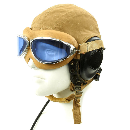Original U.S. WWII Army Air Force Aviator Flight Helmet Set - H.B. Rocket Blue Goggles, A-10A Helmet, H-79/AIC Receivers Original Items