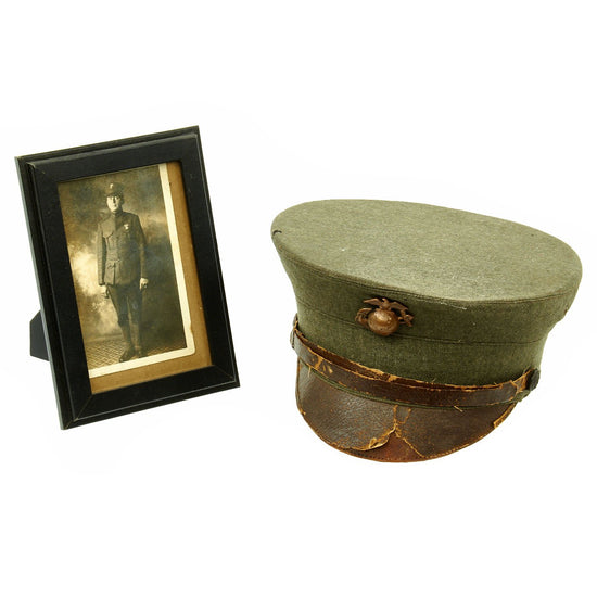 Original WWI Era U.S. Marine Corps Summer Dress Enlisted Bell Crown Visor Cap with Postcard