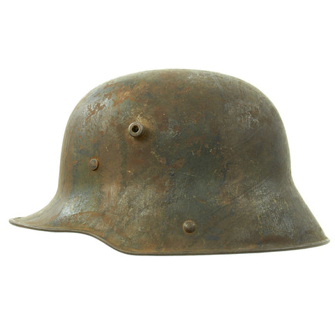 Original Imperial German WWI M16 Stahlhelm Helmet Shell with Panel Camouflage Paint - marked Q.66 Original Items