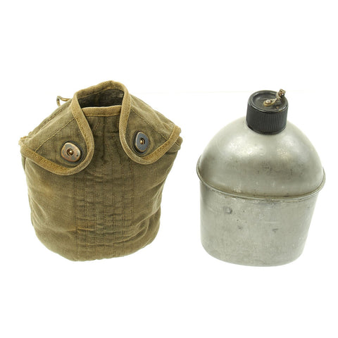 Original U.S. WWII Airborne Paratrooper M1941 Mounted Canteen Cover with Water Bottle Original Items