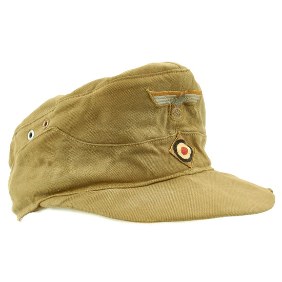 Original German WWII Model 43 Afrika Korps Tropical Field Cap dated 1943 - Tropeneinheitsfeldmütze M43