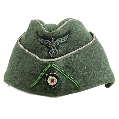Original German WWII Rare Heer Army Panzergrenadier Officer Wool M38 Overseas Cap in Excellent Condition Original Items